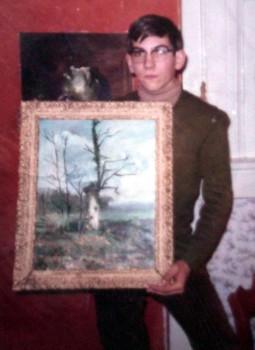 Gilbert a 13 ans (1966), présente ses tableaux L'arbre mort et Nature morte.