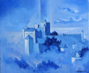 Le château dans le ciel - 46x38cm - HST