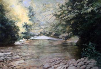 Le gué dans Les Pyrénées - 35 x 50 cm