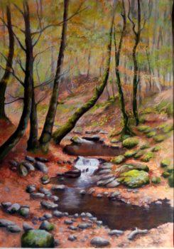 Le ruisseau en Aubrac - 70x50